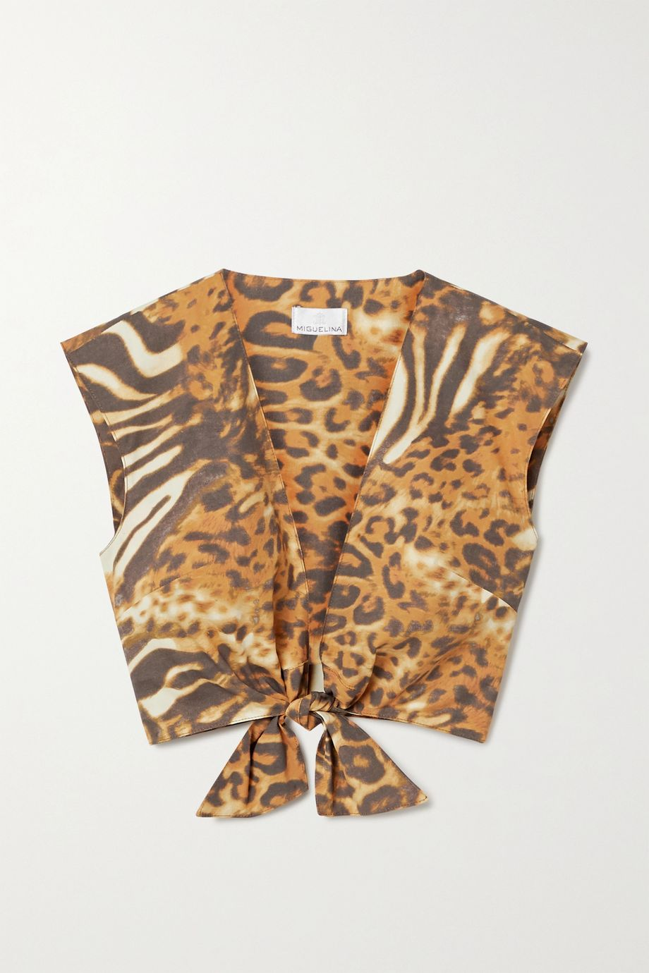 Miguelina Marcy cropped tie-front animal-print cotton-poplin top