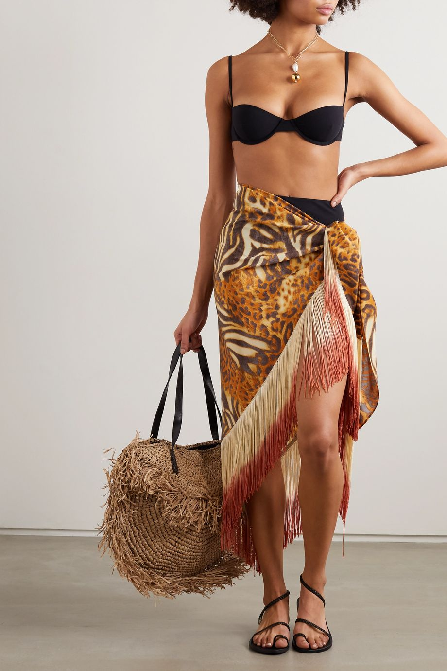 Miguelina Safiya 流苏边动物印花真丝裹身式沙滩巾