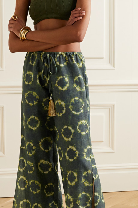 Fifi crochet-trimmed printed cotton-voile pants