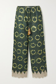 Miguelina Fifi crochet-trimmed printed cotton-voile pants