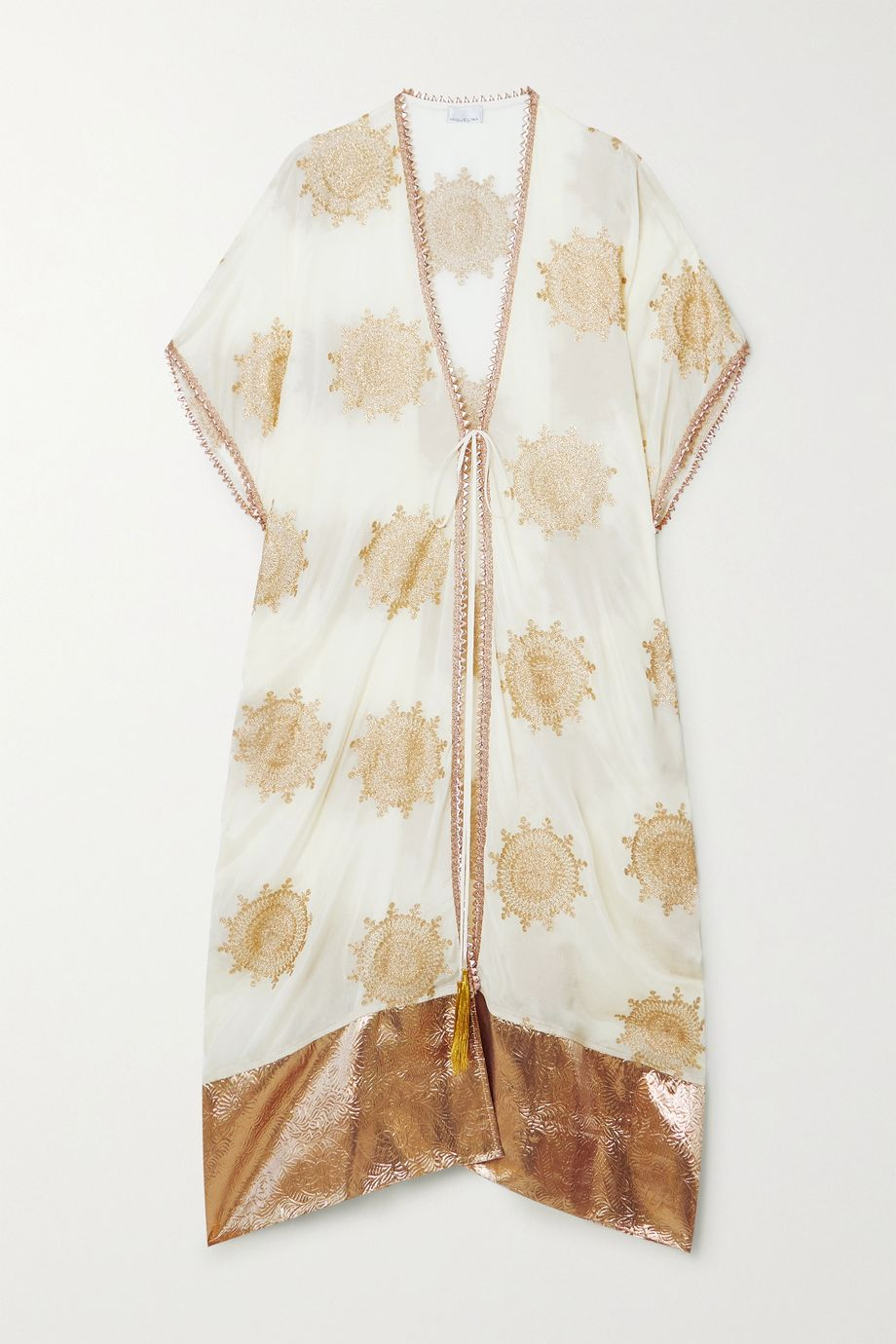 Miguelina Houda metallic embroidered voile and matelassé Lurex robe