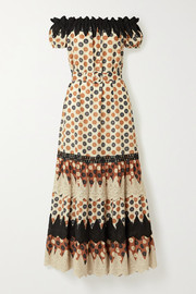 Miguelina Bhati off-the-shoulder crochet-trimmed printed cotton-voile maxi dress