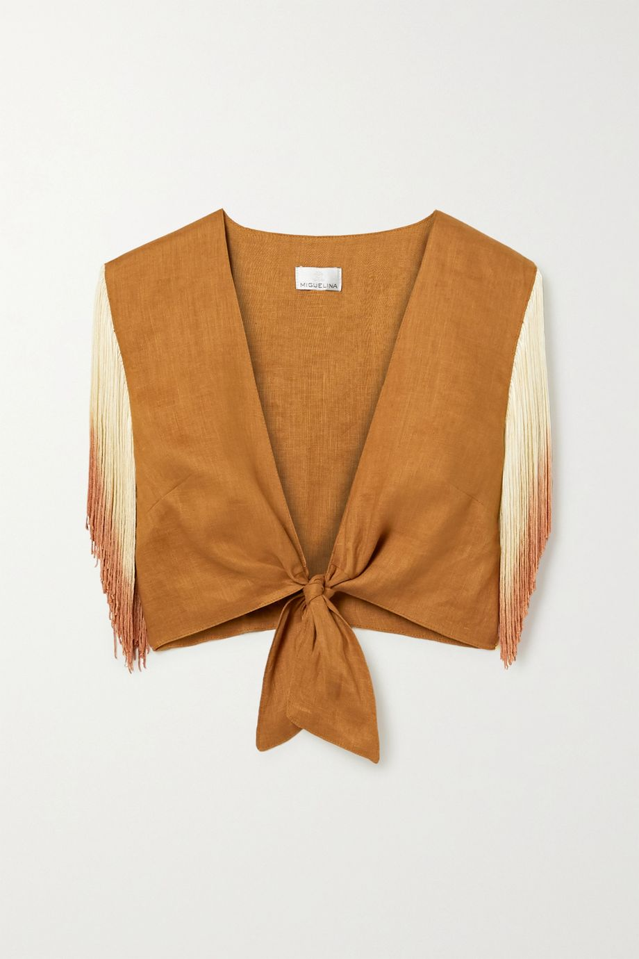Miguelina Sheena cropped tie-front fringed linen top