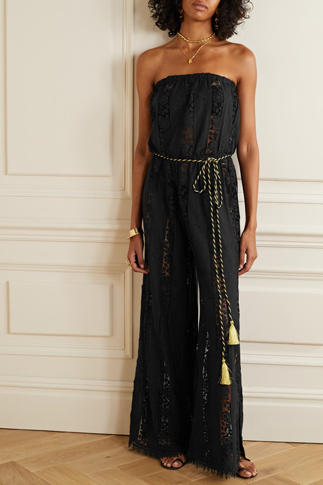 Naima guipure lace-paneled embroidered cotton jumpsuit