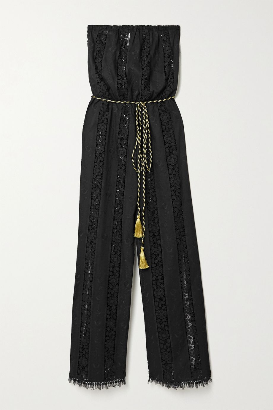 Miguelina Naima guipure lace-paneled embroidered cotton jumpsuit
