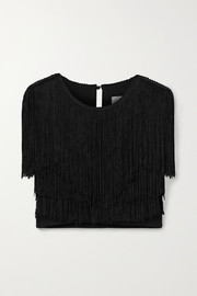 Miguelina Adisa cropped fringed jersey top