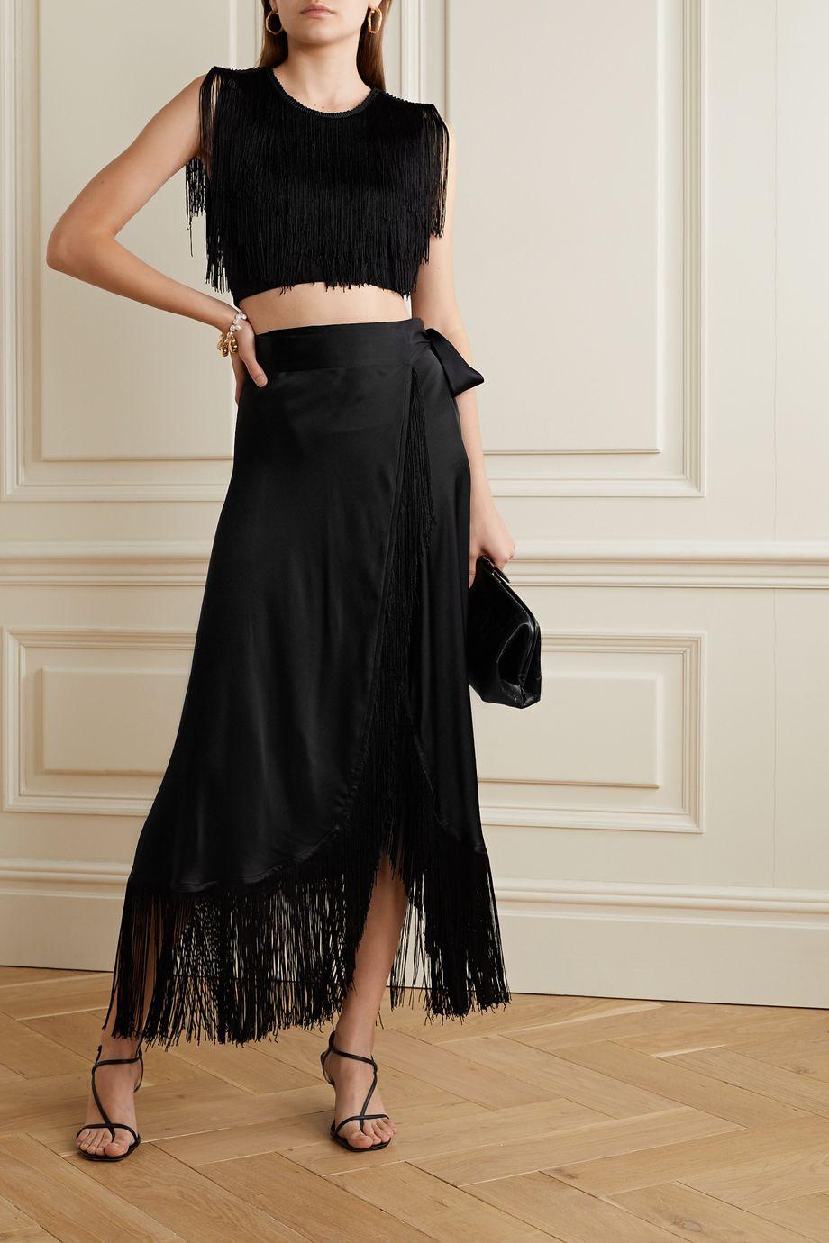 Miguelina Amara fringed silk-satin wrap maxi skirt