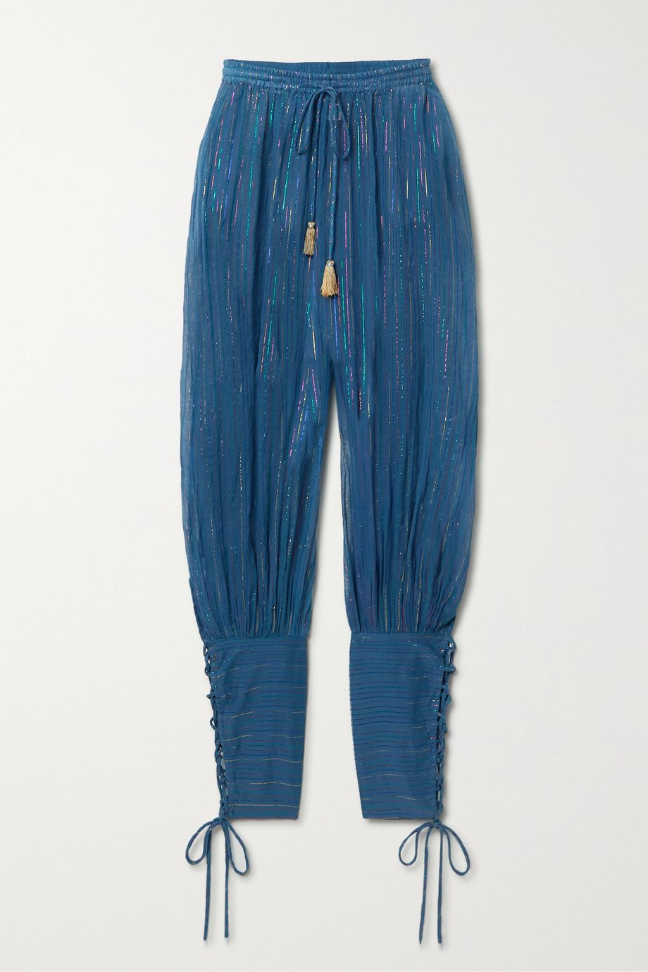 Miguelina Tara striped cotton and Lurex-blend tapered pants