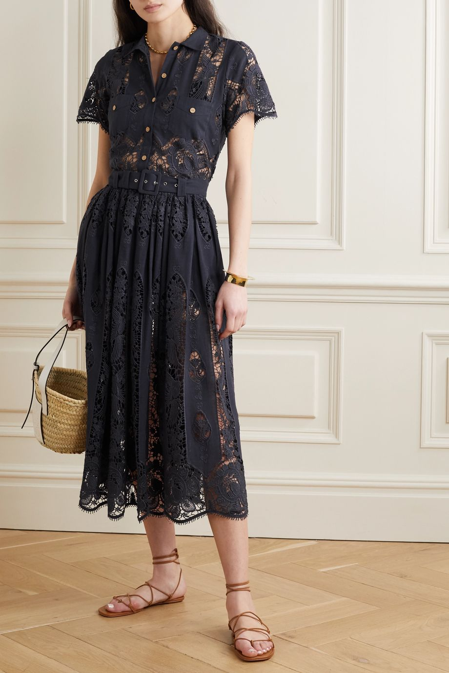 Miguelina Penina belted crochet-trimmed cotton and linen-blend midi skirt
