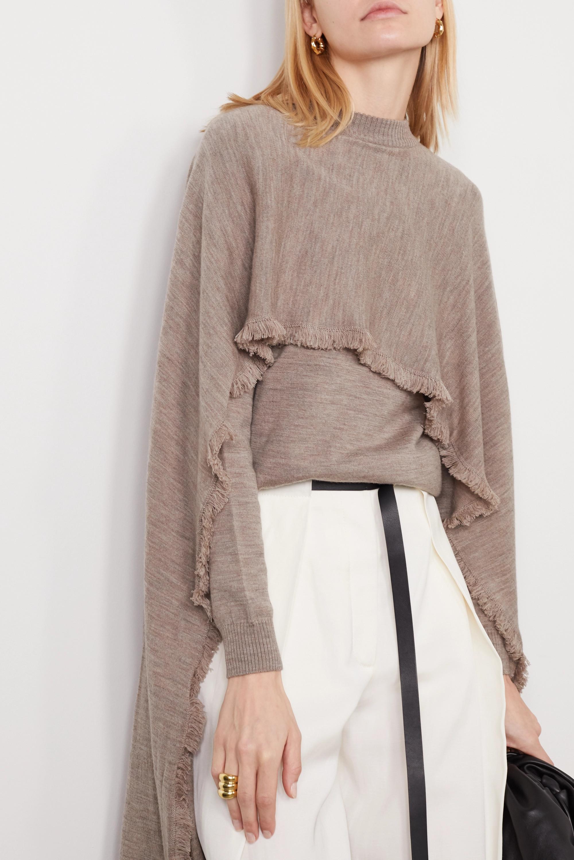 Deveaux Cape-effect frayed merino wool sweater