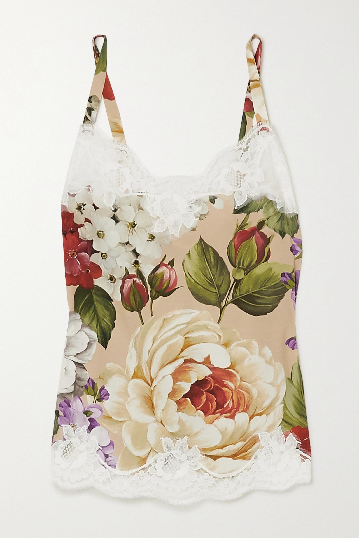 Dolce & Gabbana Caraco en soie mélangée à imprimé fleuri et à finitions en dentelle