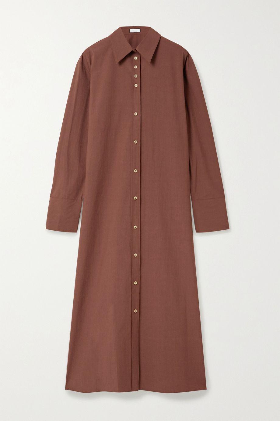 Deveaux Nye cotton-poplin midi dress