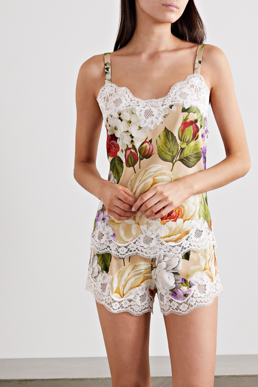 Dolce & Gabbana Lace-trimmed floral-print silk-blend pajama shorts