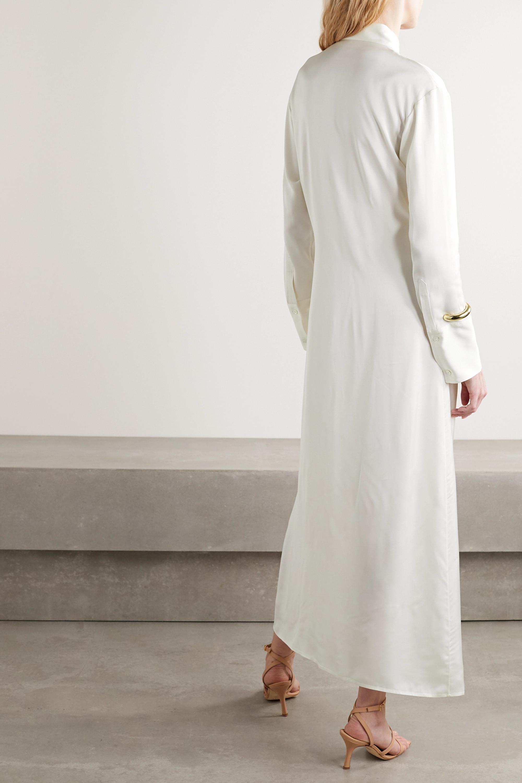 Deveaux Nye 缎布超长衬衫式连衣裙