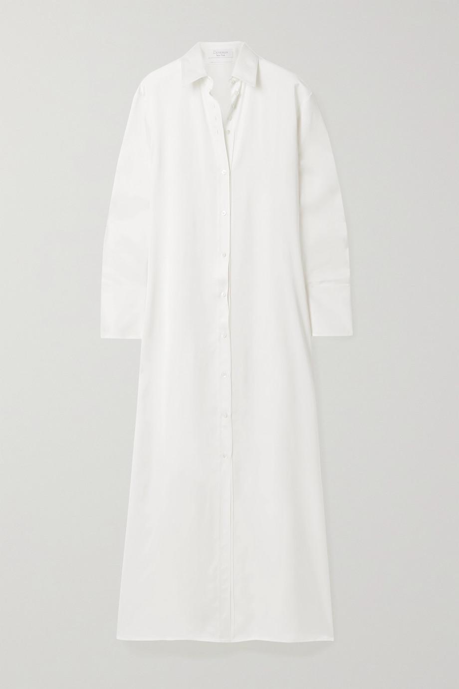Deveaux Nye satin maxi shirt dress