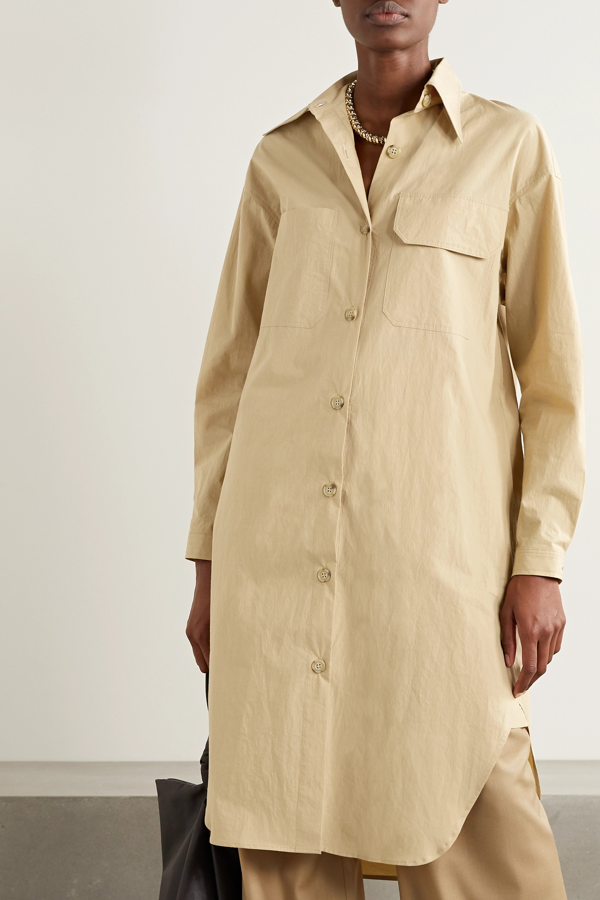 Deveaux Shiloh oversized cotton-poplin shirt dress
