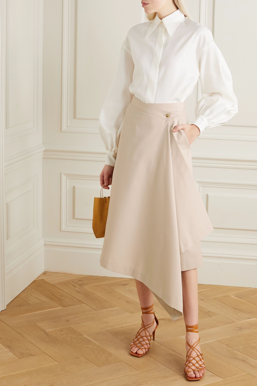 Deveaux Asymmetric twill wrap midi skirt