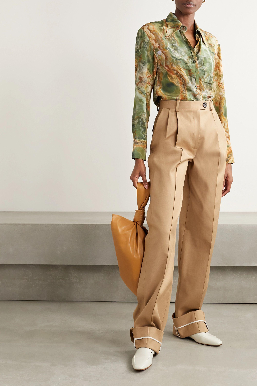 Deveaux Dawn printed silk-georgette blouse