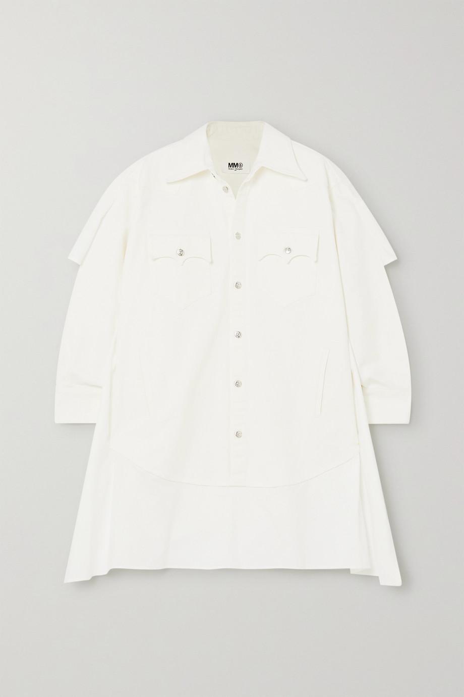 MM6 Maison Margiela Paneled denim and cotton-poplin shirt dress