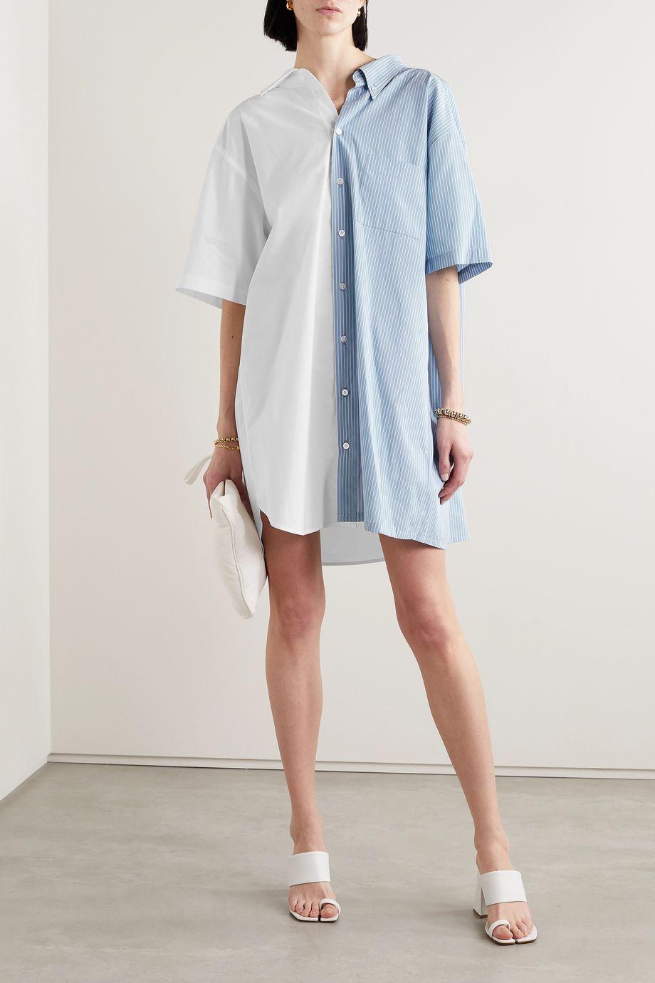 MM6 Maison Margiela Paneled cotton-poplin mini shirt dress