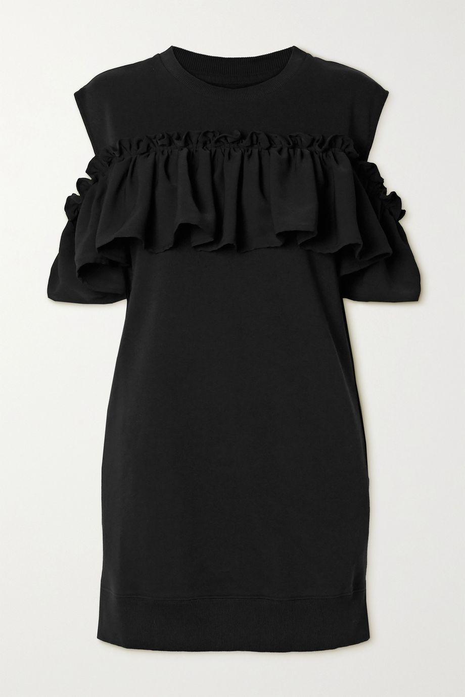MM6 Maison Margiela Cold-shoulder ruffled cotton-blend jersey dress
