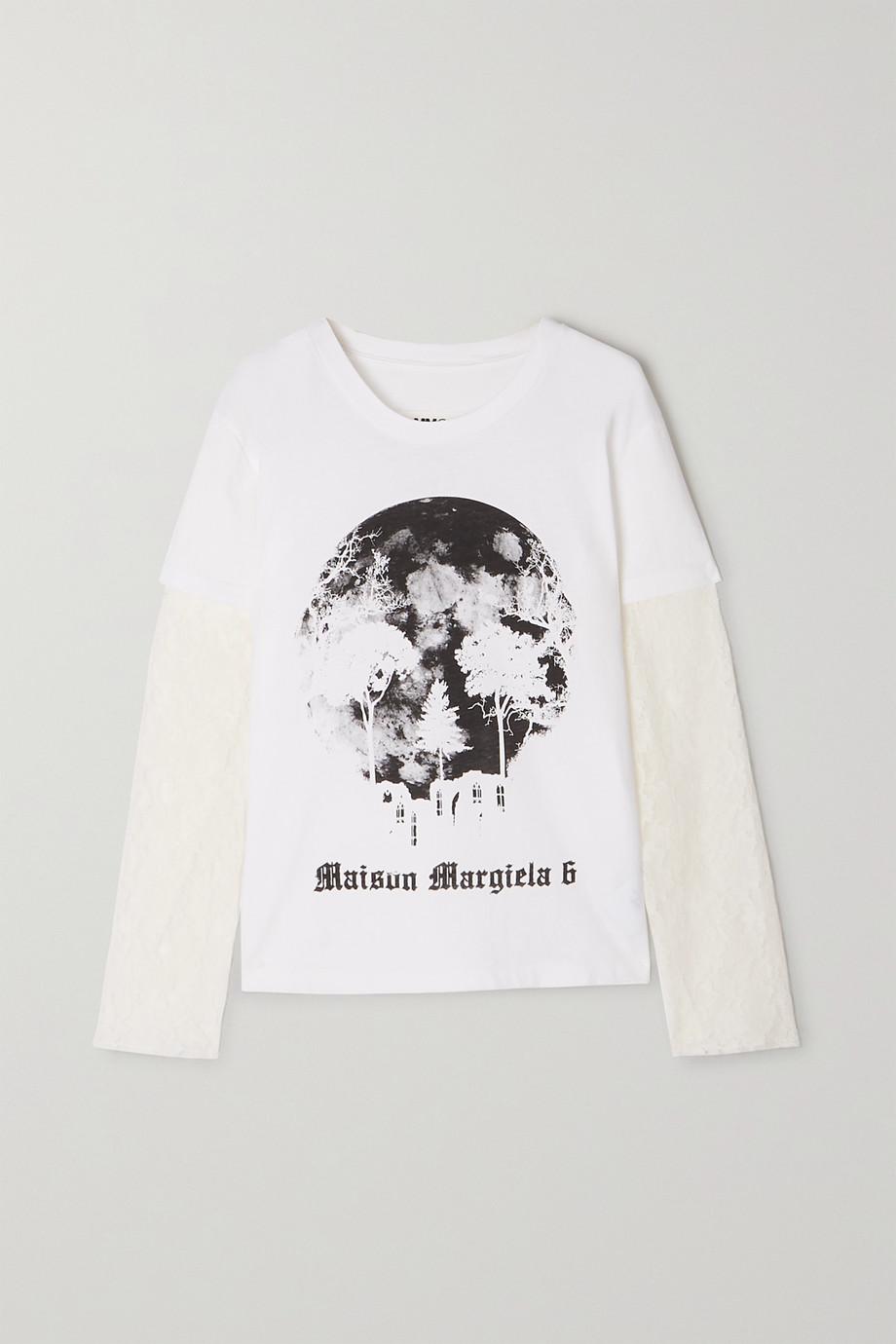 MM6 Maison Margiela Oberteil aus Spitze und Baumwoll-Jersey mit Print