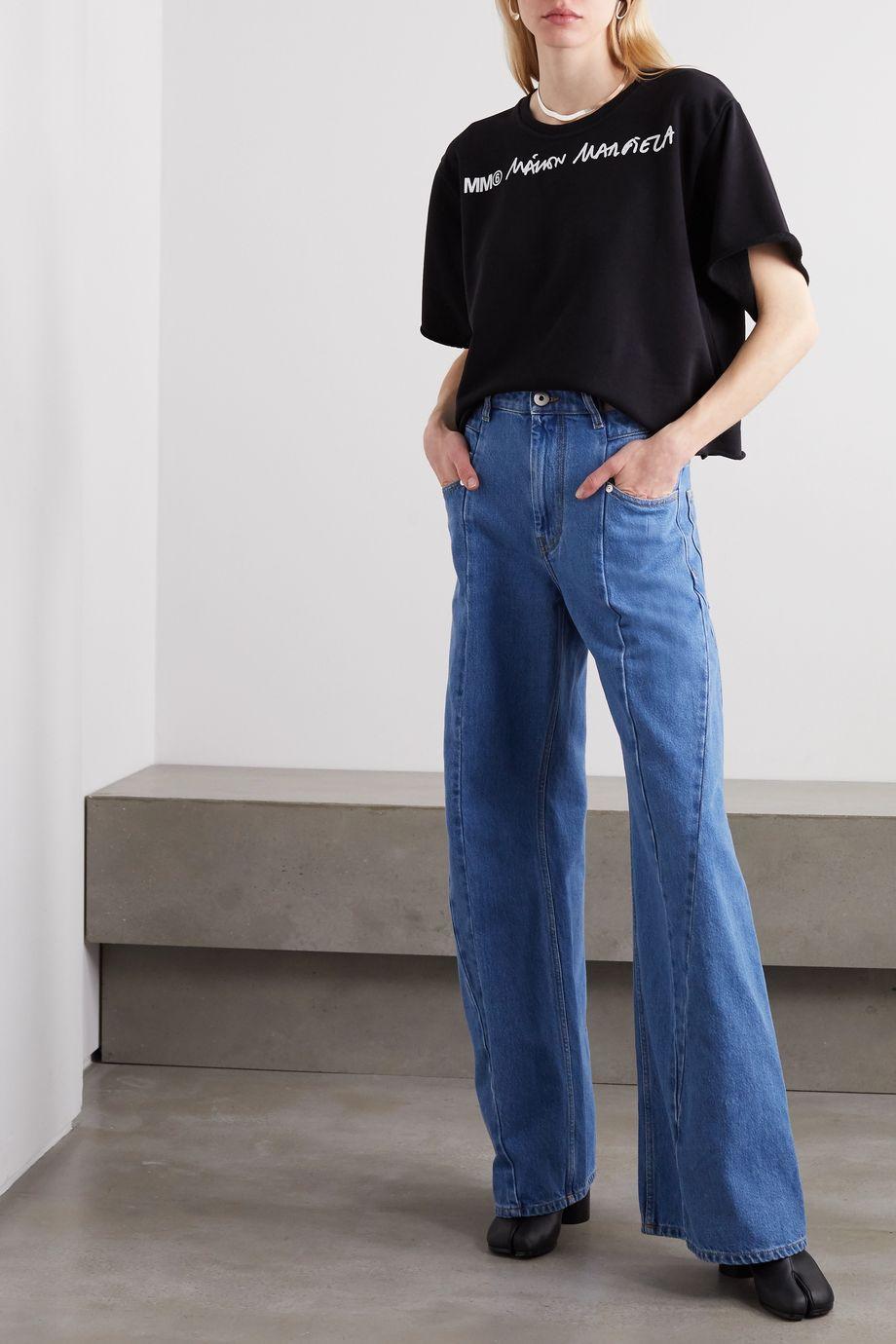 MM6 Maison Margiela Verkürztes T-Shirt aus Jersey aus einer Baumwollmischung mit Print