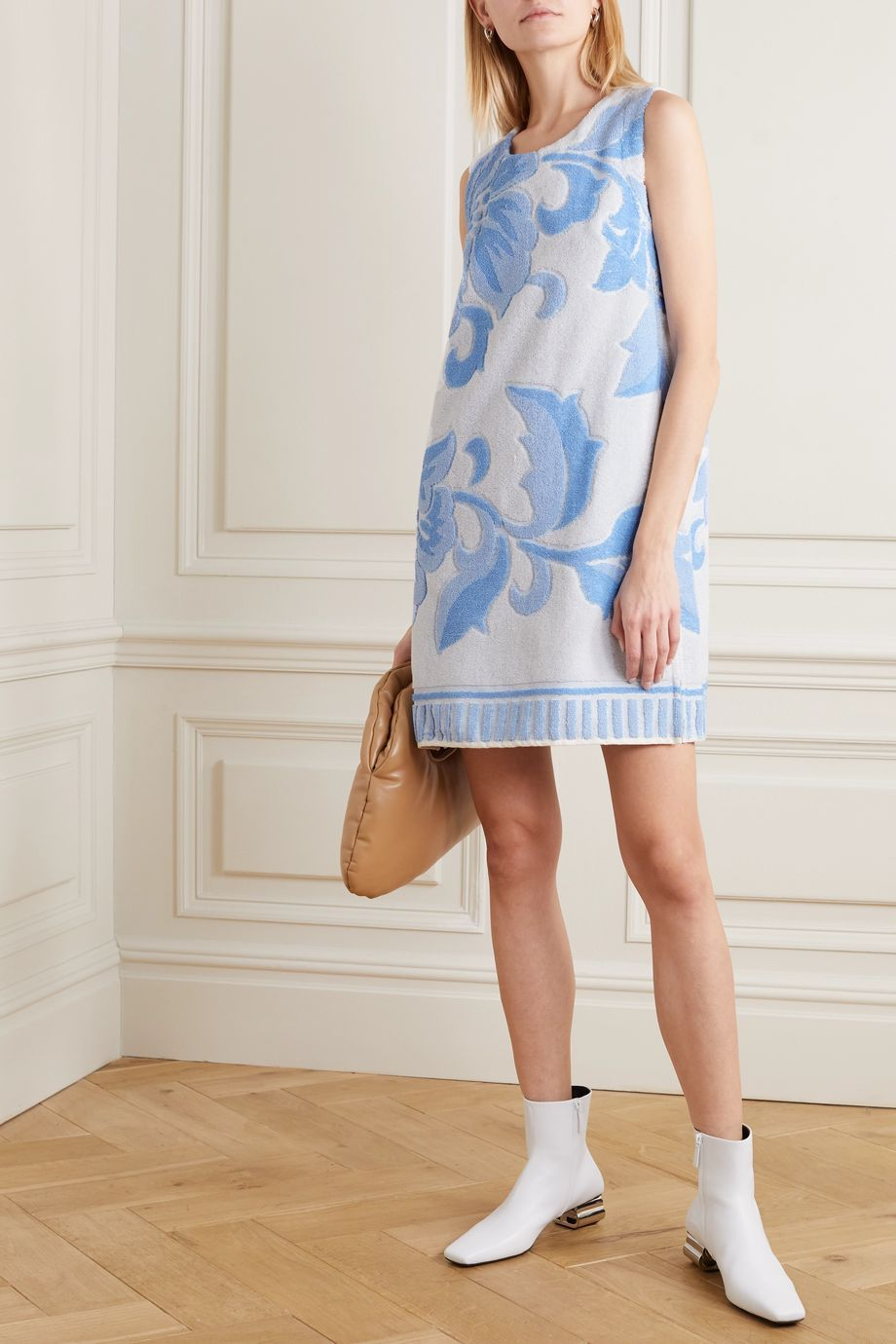 MM6 Maison Margiela Cotton-terry jacquard mini dress