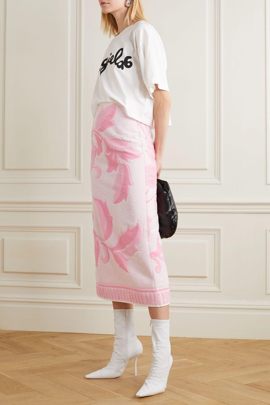 MM6 Maison Margiela Cotton-terry jacquard midi skirt