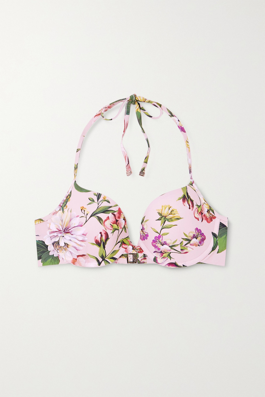 Dolce & Gabbana Neckholder-Bikini-Oberteil mit Blumenprint und Bügeln