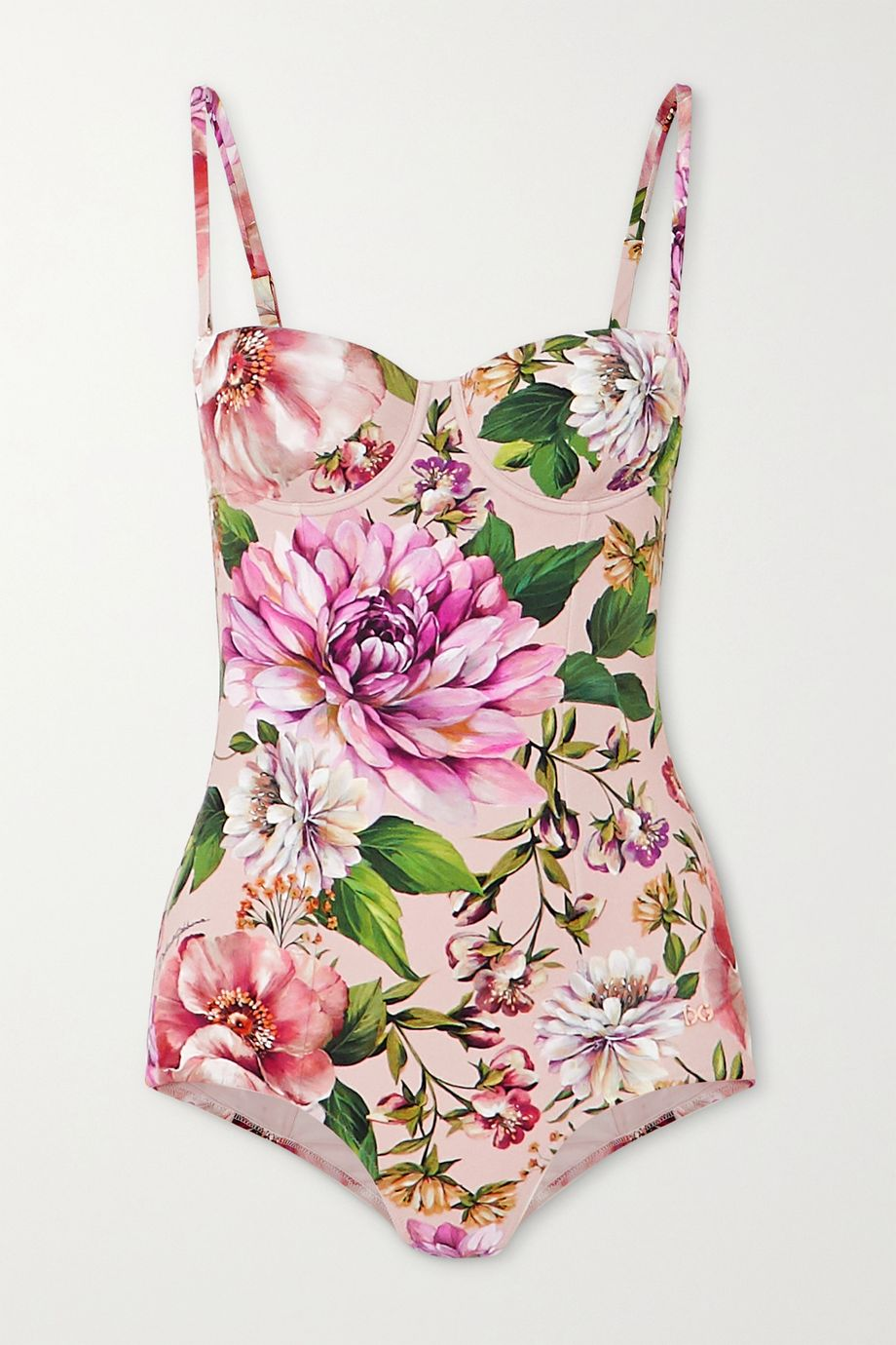 Dolce & Gabbana Cutout floral-print underwired swimsuit