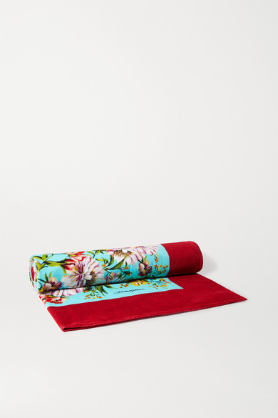 Dolce & Gabbana Floral-print Cotton-terry Beach Towel In Pink