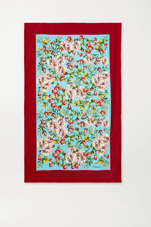 Dolce & Gabbana Badetuch aus Baumwollfrottee mit Blumenprint