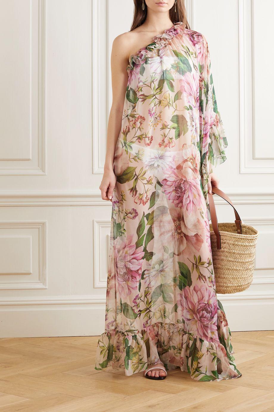 Dolce & Gabbana One-sleeve ruffled floral-print silk-chiffon maxi dress