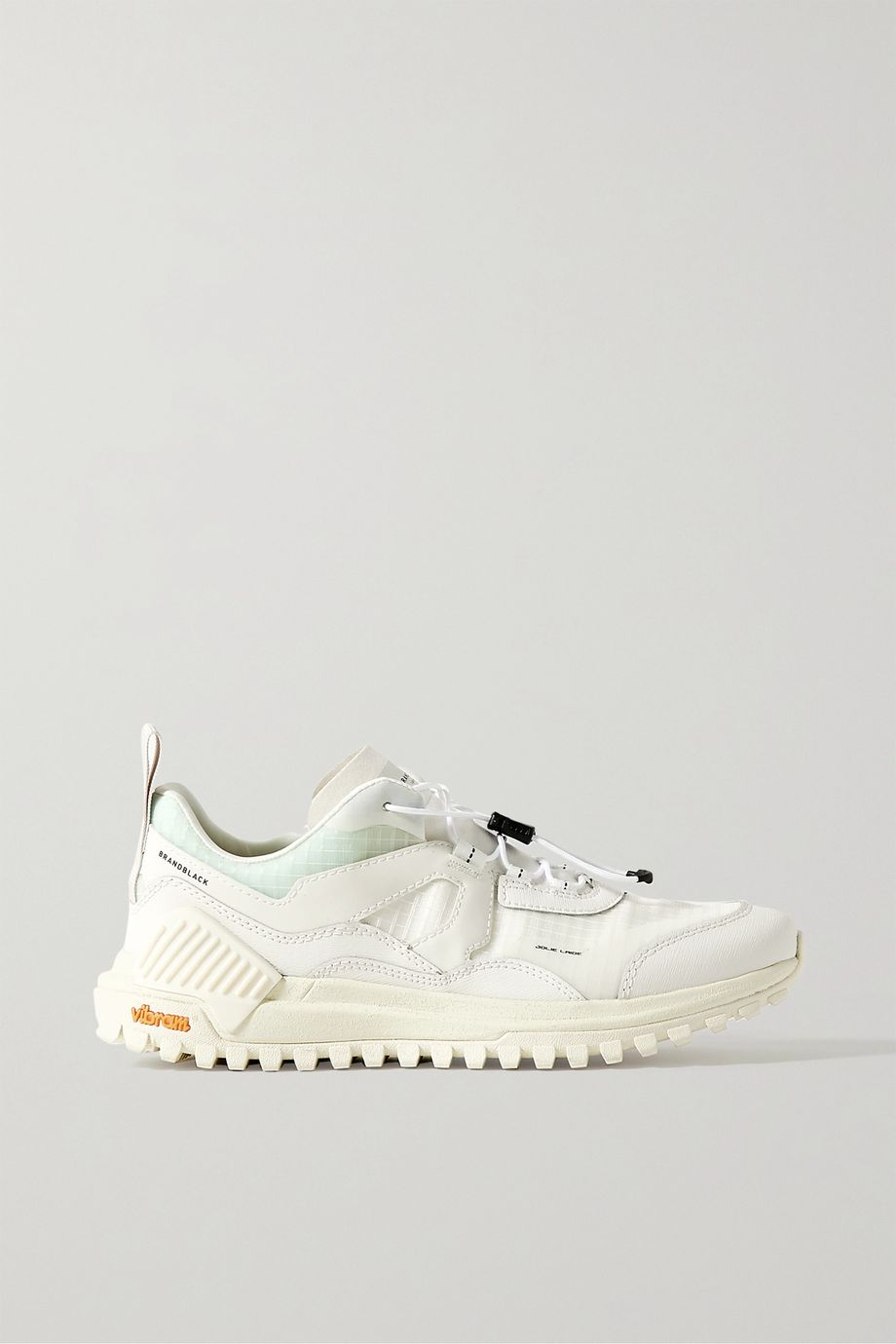 Brandblack Sierra smooth and textured leather-trimmed ripstop sneakers