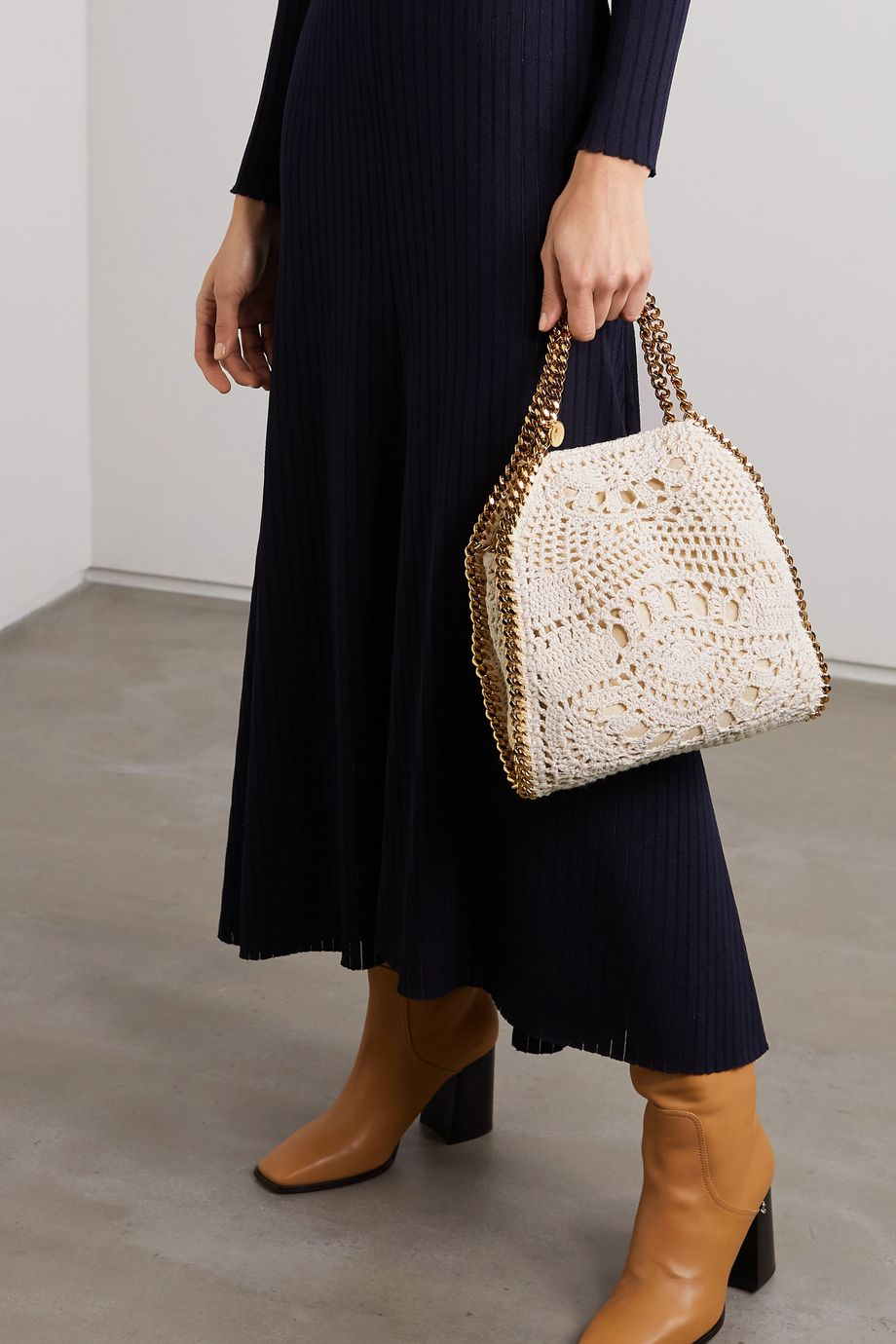 Stella McCartney The Falabella mini crocheted cotton shoulder bag