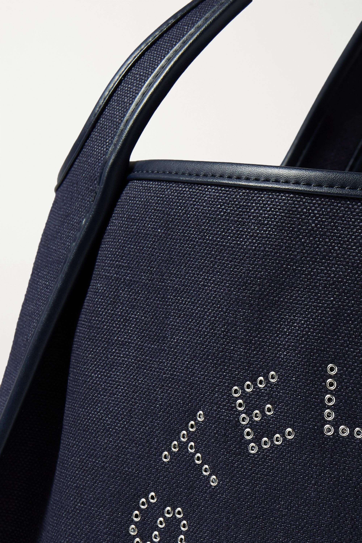 Stella McCartney Eyelet-embellished vegetarian leather-trimmed linen-canvas tote