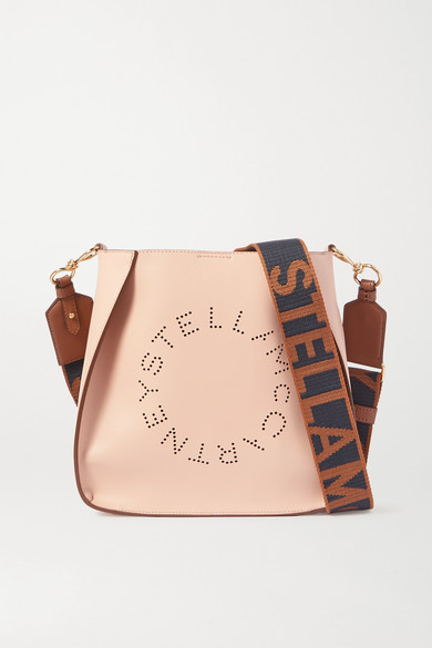Logo Perforated Vegetarian Leather Shoulder Bag by Stella Mc Cartney