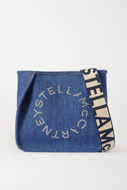 Eyelet-embellished denim shoulder bag
