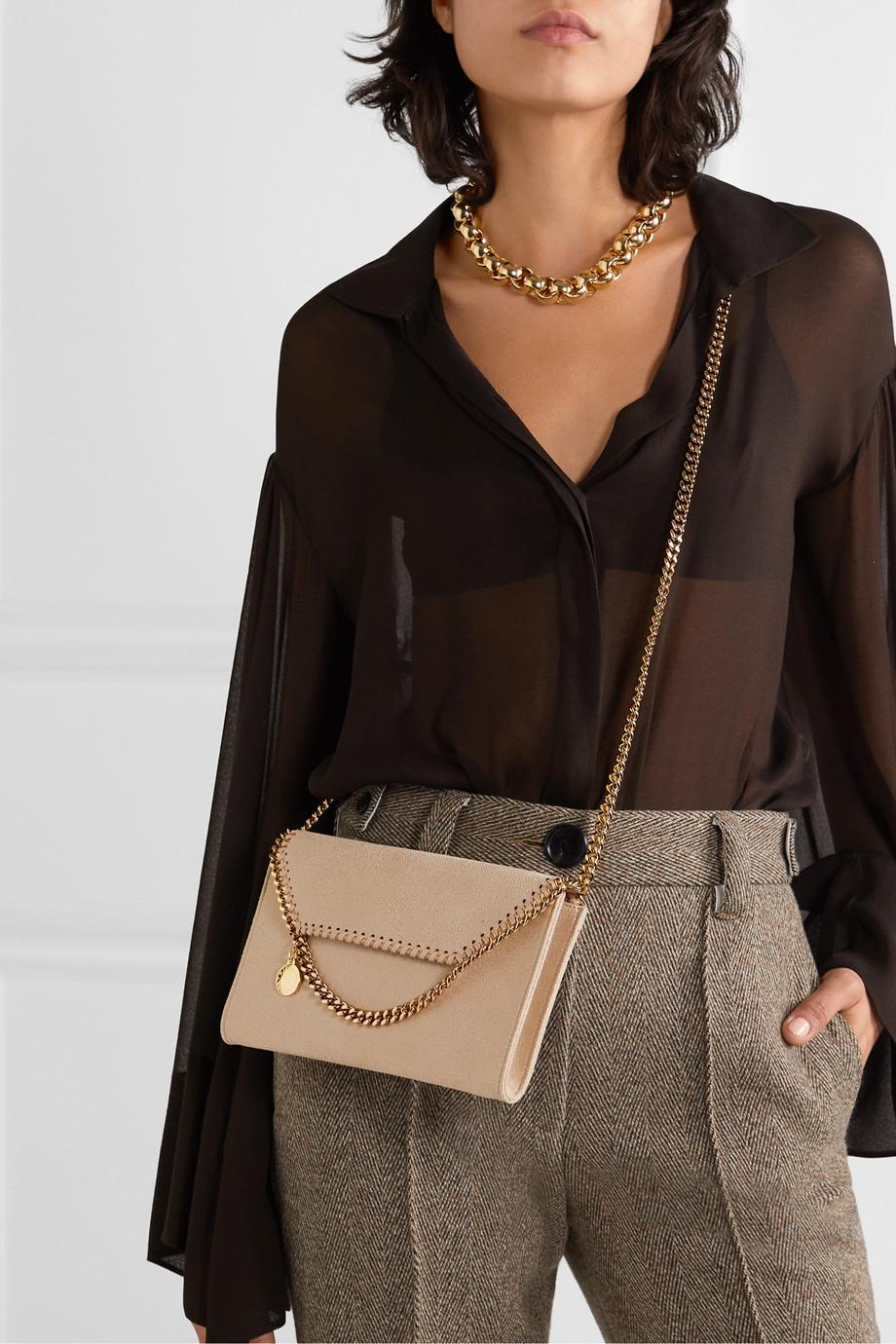 Stella McCartney The Falabella mini faux brushed-leather shoulder bag