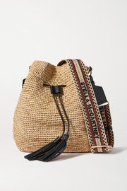 Stella McCartney Canvas and faux leather-trimmed raffia bucket bag