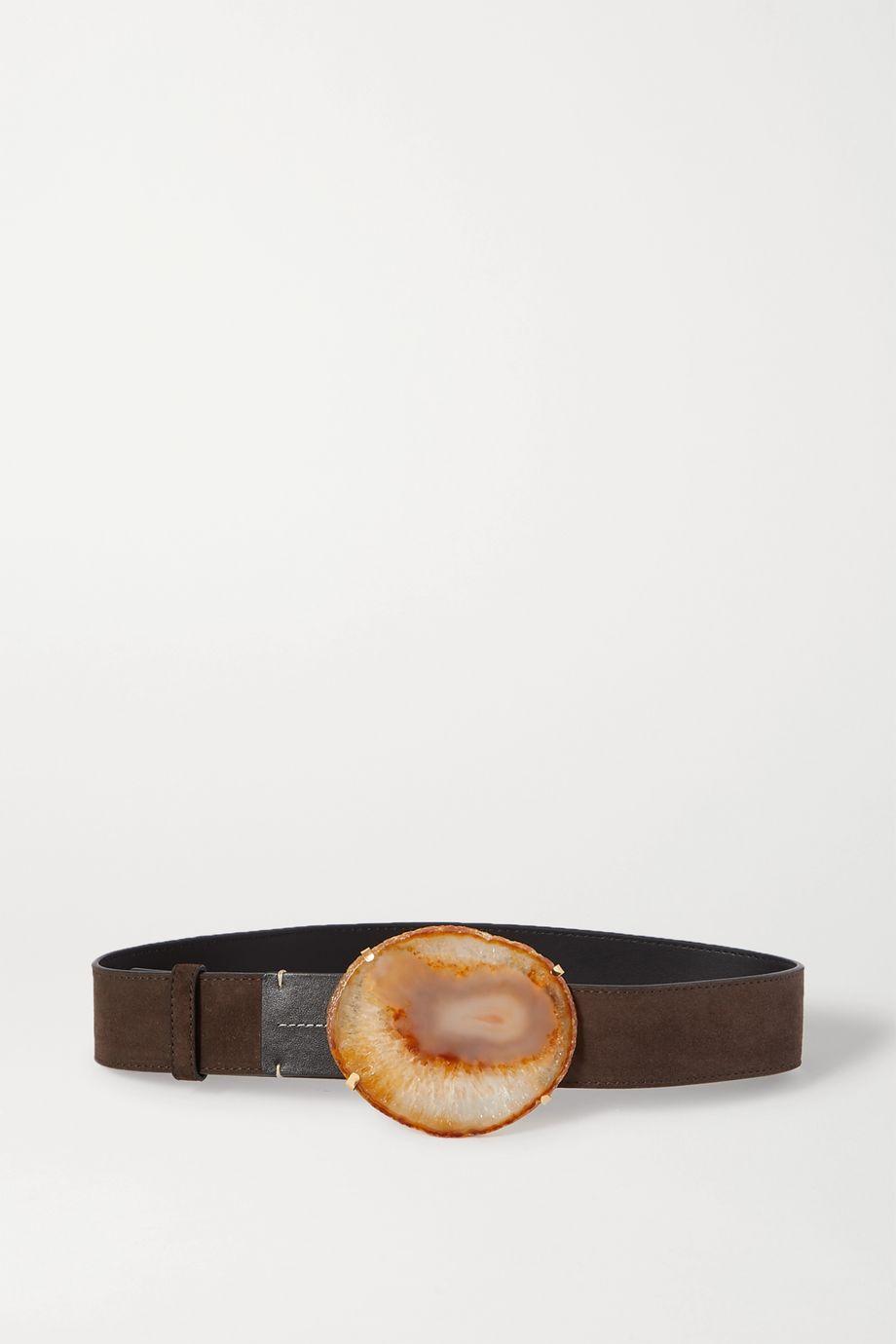 Altuzarra Suede, leather and agate belt
