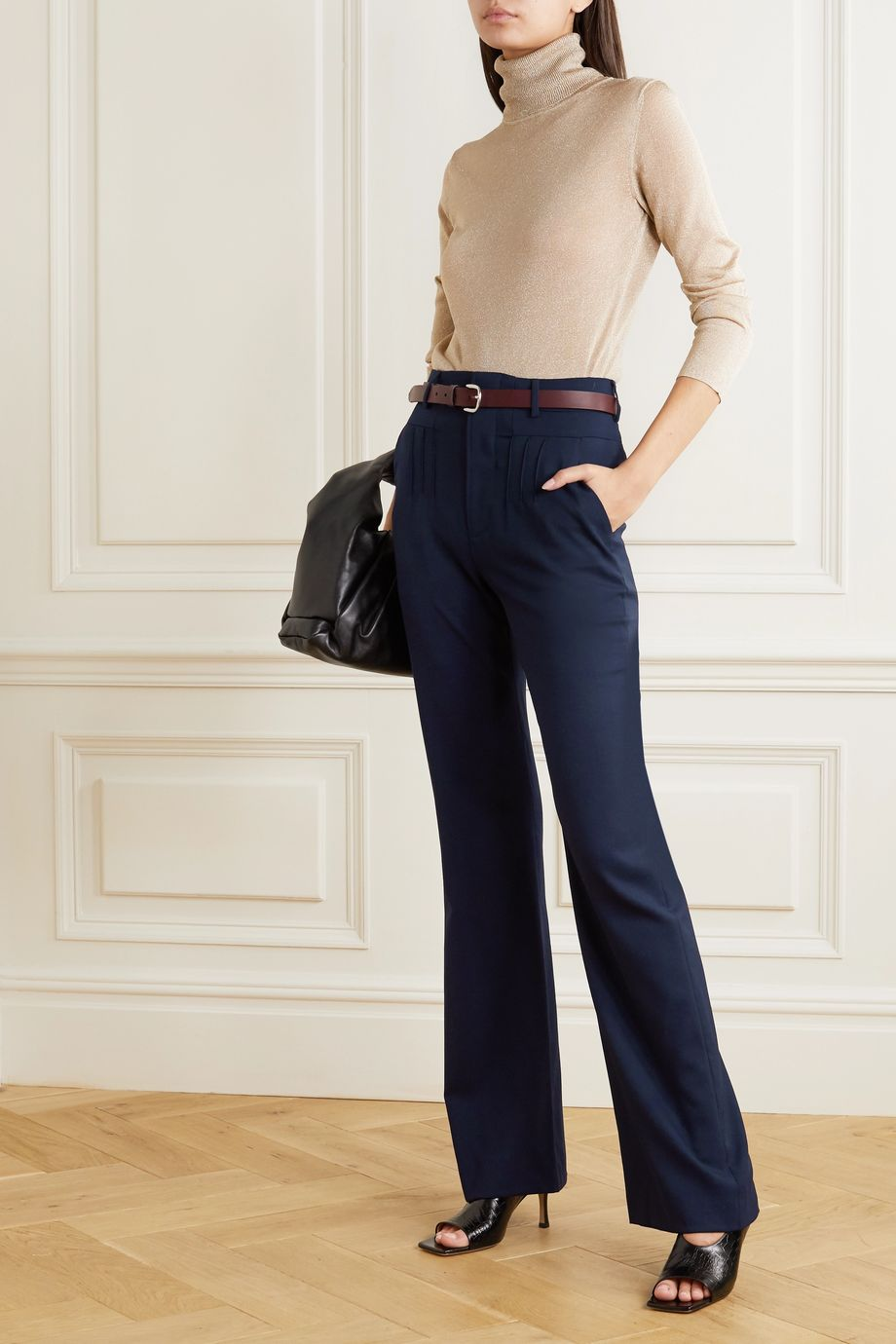 Altuzarra Zeke grain de poudre wool-blend flared pants