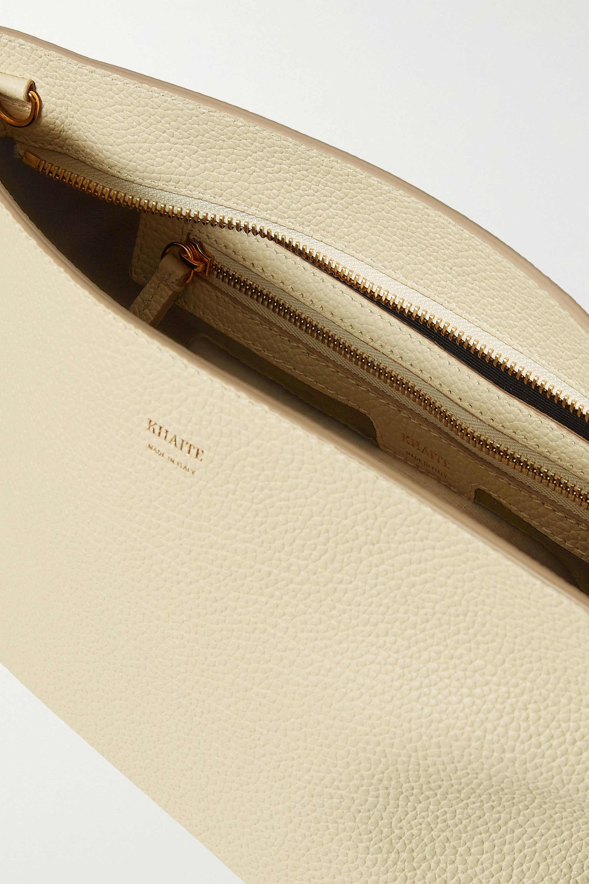 Khaite Envelope Pleat textured-leather shoulder bag