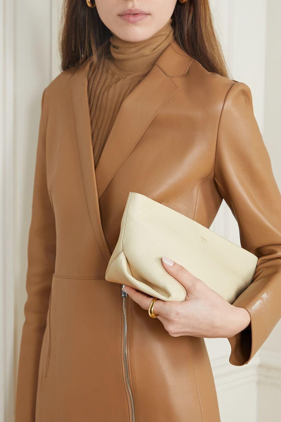 Khaite Envelope Pleat textured-leather shoulder bag