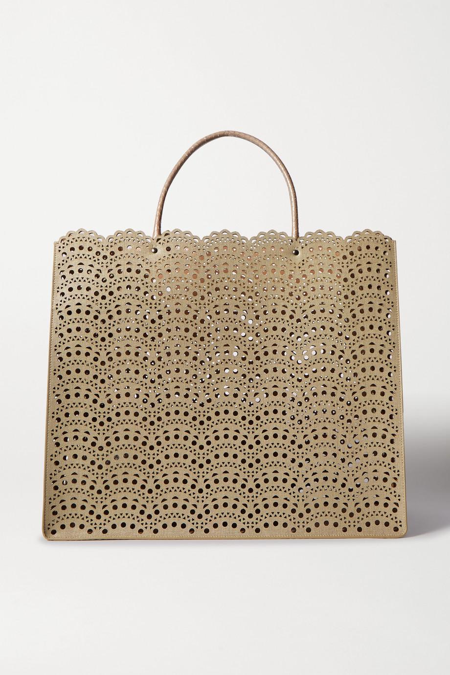Alaïa Garance large elaphe-trimmed laser-cut faux leather tote