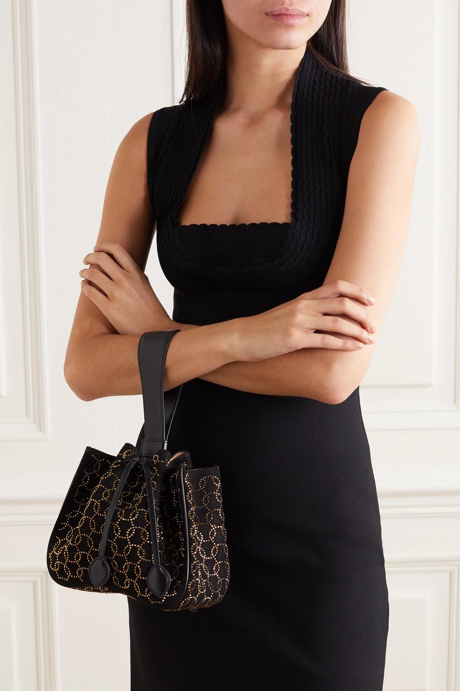 Alaïa Swarovski crystal-embellished suede and leather bucket bag