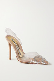 Alexandre Vauthier Amber Ghost crystal-embellished suede and PVC slingback pumps