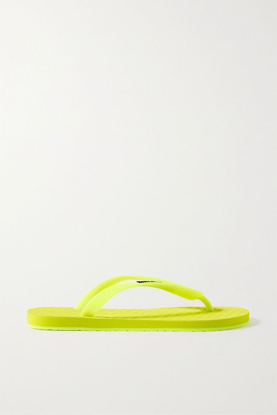 Vetements Logo-embellished neon rubber flip flops