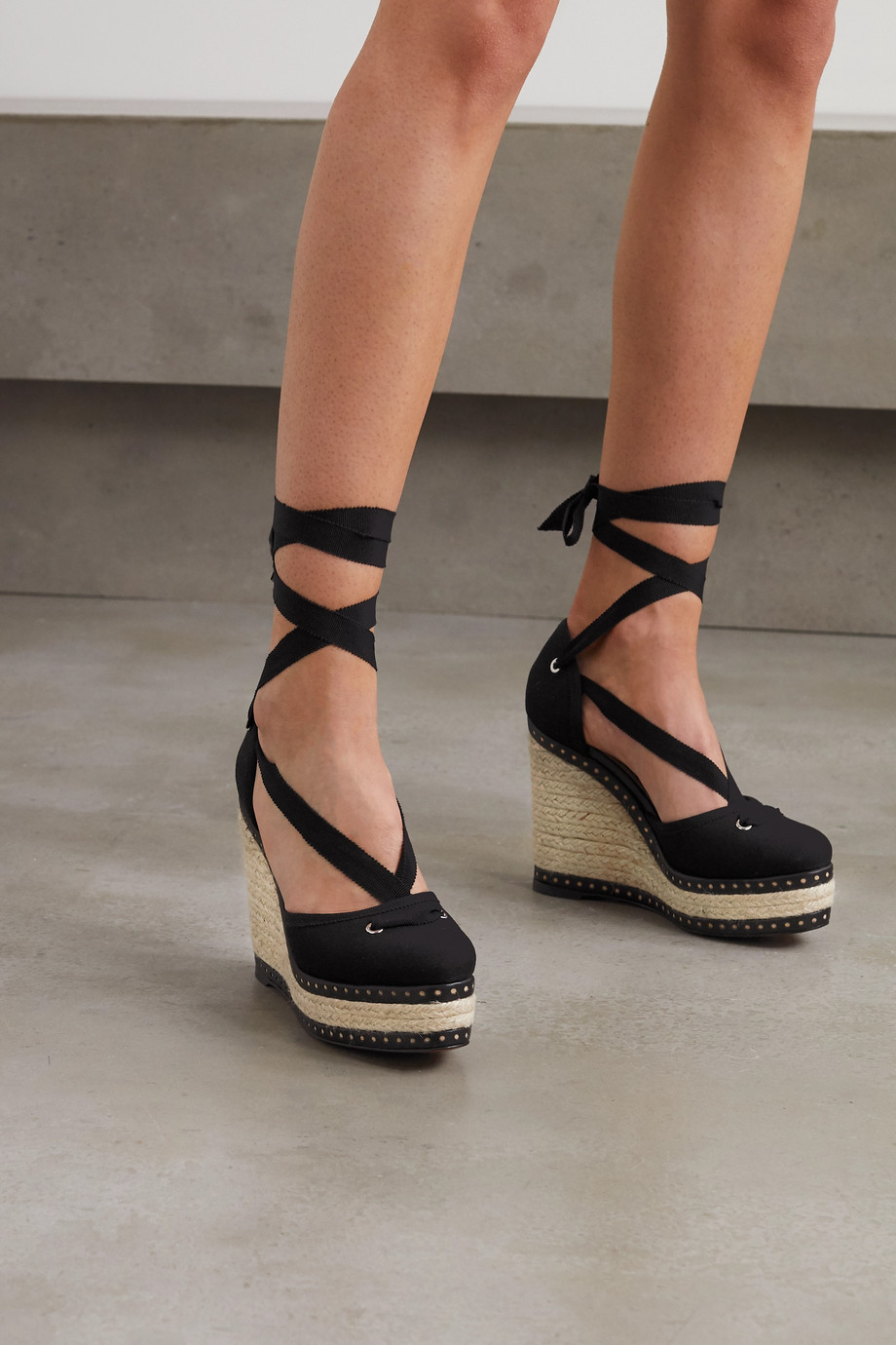 Alaïa 125 laser-cut leather-trimmed canvas wedge espadrilles